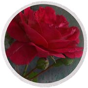 Betty's Red Rose II With Decorations Round Beach Towel
