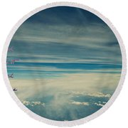 Between Earth And Sky Round Beach Towel