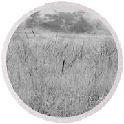 Between Mountains And Meadows Round Beach Towel