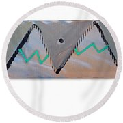Between The Mountains And The Fishes Round Beach Towel