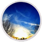 Between Two Trees Round Beach Towel
