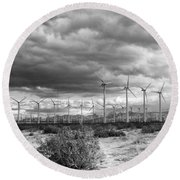 Beyond The Clouds Bw Round Beach Towel