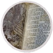 Bible Pages Round Beach Towel