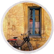 Bicycle And Window In France Round Beach Towel