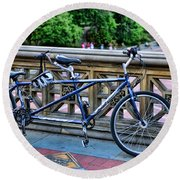 Bicycle Built For Two Round Beach Towel