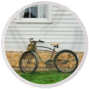 Bicycle By House Round Beach Towel