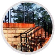 Bicycle By Train Station Round Beach Towel
