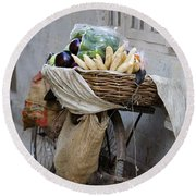 Bicycle Loaded With Food, Delhi, India Round Beach Towel