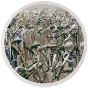 Bicycle Park In Beijing In China Round Beach Towel