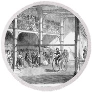 Bicycle Tournament, 1869 Round Beach Towel