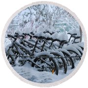 Bicycles In The Snow Round Beach Towel