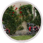 Bicycles Parked By The Wall Round Beach Towel
