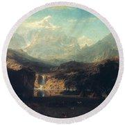 Bierstadt: Rockies Round Beach Towel