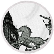 Big Ben And Boudica Charcoal Sketch Effect Image Round Beach Towel