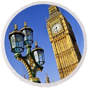 Big Ben And Palace Of Westminster Round Beach Towel