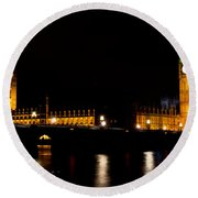 Big Ben And The Houses Of Parliament  Round Beach Towel