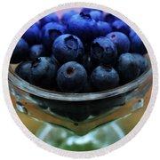 Big Bowl Of Blueberries Round Beach Towel