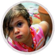 Big Brown Eyes Round Beach Towel