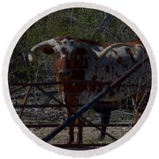 Big Bull Long Horn Round Beach Towel