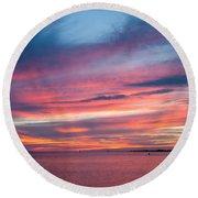 Big Florida Sunset Round Beach Towel