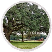 Big Oak And The Tractors Round Beach Towel