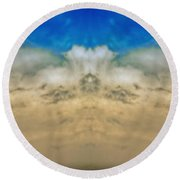 Big Ol Clouds Panorama Round Beach Towel