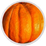 Big Orange Pumpkin Round Beach Towel