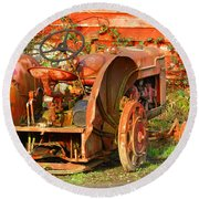 Big Red Tractor Round Beach Towel