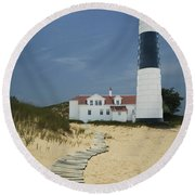 Big Sable Lighthouse In Ludington Michigan Number 3 Round Beach Towel