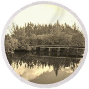 Big Sky And Dock On The River In Sepia Round Beach Towel