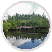 Big Sky And Docks On The River Round Beach Towel