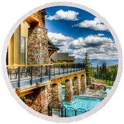 Big Sky Ski Resort Montana Round Beach Towel
