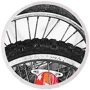 Big Wheels Keep On Turning Round Beach Towel by Jerry Cordeiro