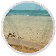 Biked To The Beach Round Beach Towel