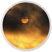 Billowing Sunrise Round Beach Towel