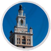 Biltmore Hotel Tower And Moon Round Beach Towel