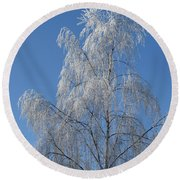 Birch In Frost. Round Beach Towel
