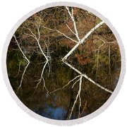 Birch Lake Reflections Round Beach Towel