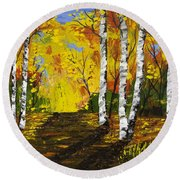 Birch Trees And Road Fall Painting Round Beach Towel
