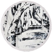Birch Trees By The Brook Round Beach Towel