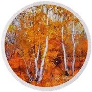 Birch Trees In Autumn Round Beach Towel