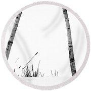 Birch Trees In Snow Round Beach Towel