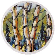 Birches Aglow By Prankearts Round Beach Towel