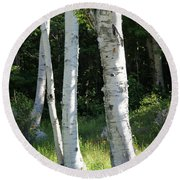 Birches On A Meadow Round Beach Towel