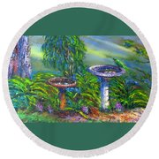 Bird Baths Round Beach Towel