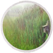 Bird House In Quogue Wildlife Preserve Round Beach Towel