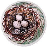 Bird Nest And A Feather Round Beach Towel