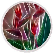 Bird Of Paradise Fractal Panel 2 Round Beach Towel
