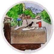 Bird On The Mailbox Sketchbook Project Down My Street Round Beach Towel