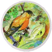Birds 01 Round Beach Towel